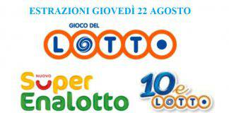 Estrazione Lotto, SuperEnalotto, 10eLotto agosto