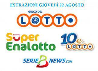 Estrazione Lotto, SuperEnalotto, 10eLotto agosto