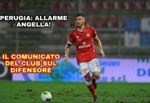 Perugia: allarme Angella, il comunicato del club sul difensore