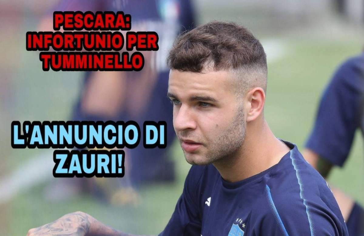 Pescara: infortunio per Tumminello, l'annuncio di Zauri