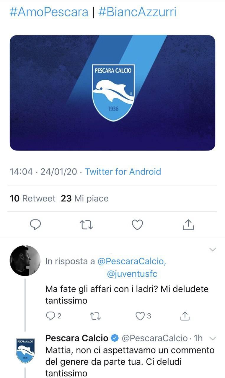Calciomercato Pescara Brunori Masciangelo Juventus ufficiale polemica Twitter Serie B