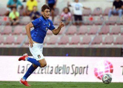 Italia U21: Lorenzo Lucca in campo contro il Montenegro U21, 7 settembre 2021. Foto © Alessandro Sabattini/Getty Images.