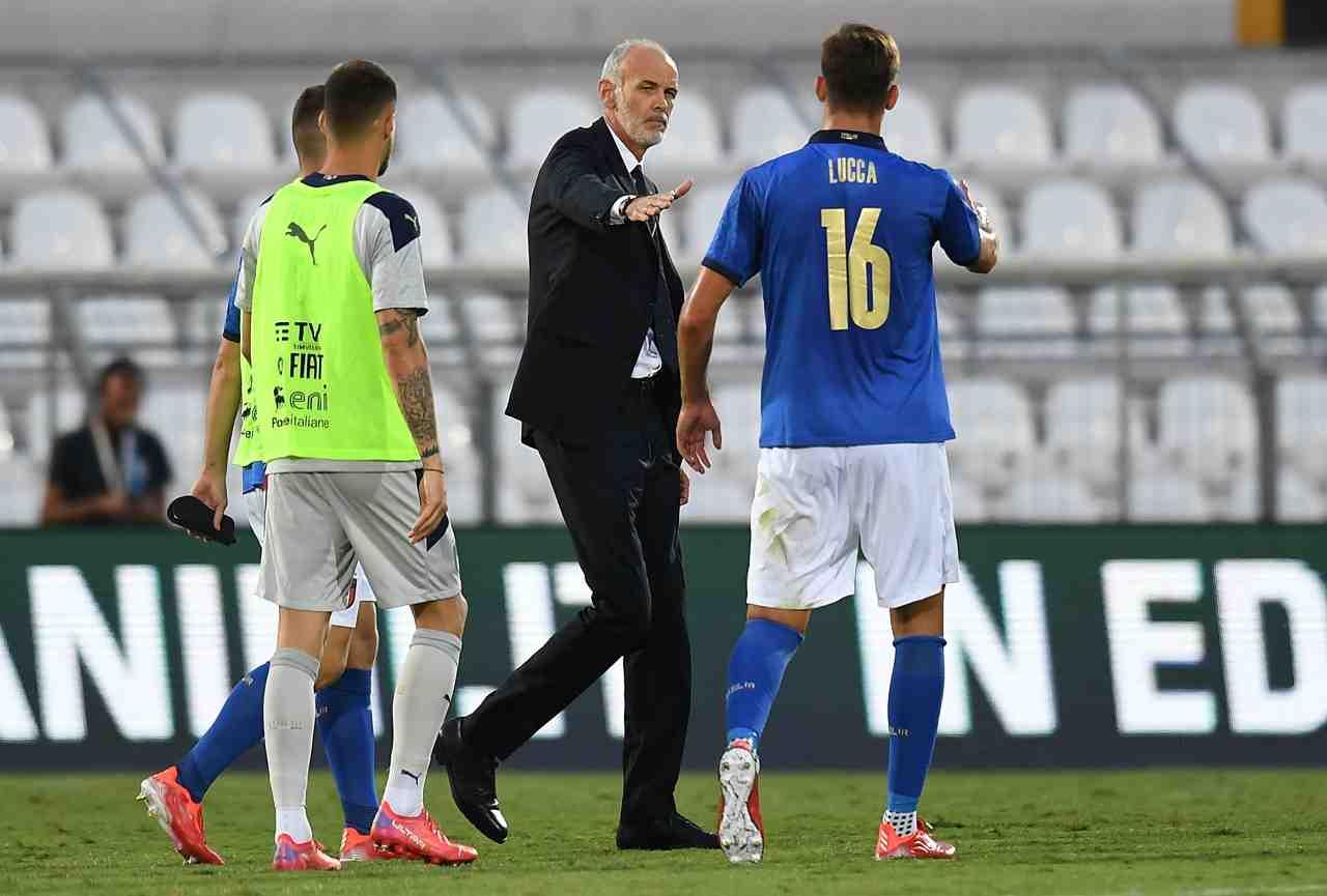 Stadio Romeo Menti, Lorenzo Lucca veste la maglia dell'Italia U21 nella partita contro il Montenegro U21, 7 settembre 2021. Foto © Alessandro Sabattini/Getty Images.