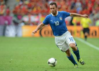 Italian forward Antonio Cassano controls